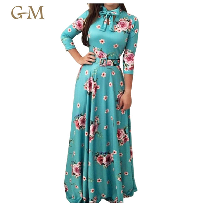 Summer Beach Wear Long Floral Printing Maxi Dress with bow for Woman