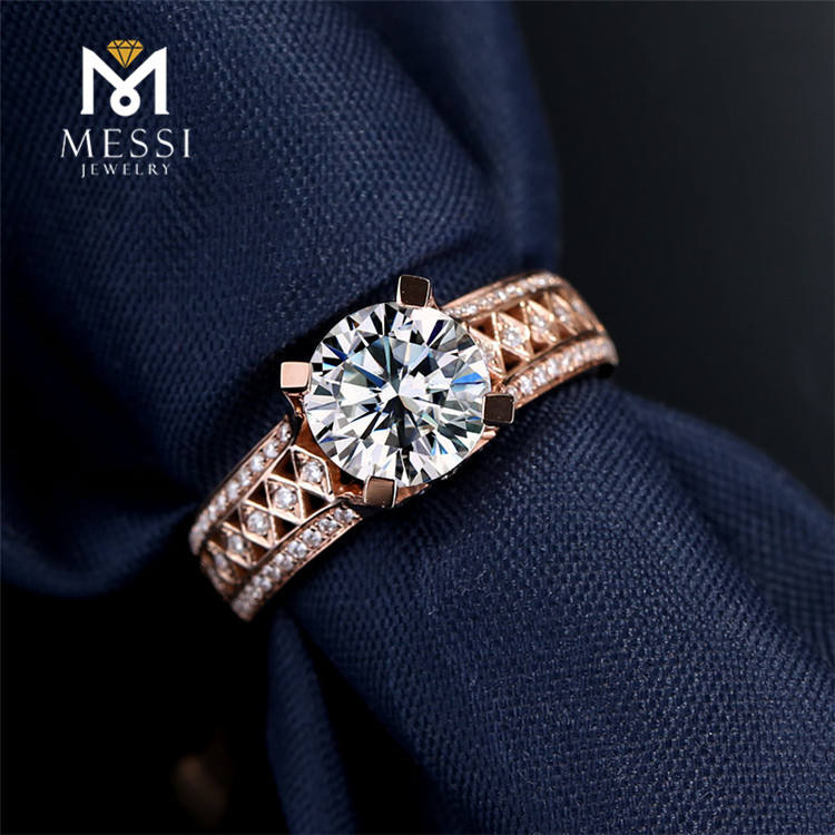 Messi Jewelry 1.5ct cat rose gold Moissanite 14k/18k rings for women rose gold Moissanite rings