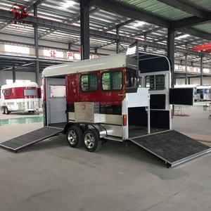 2 con ngựa thẳng tải trailer, ngựa trailer cửa deluxe loại