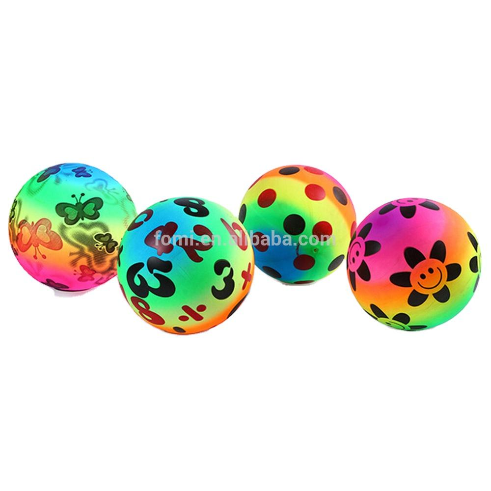 Hot sale cute rainbow color footprints printed wholesale pvc beach ball