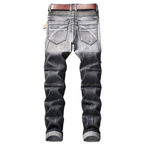FREE Shipping New Brand Slim Skinny Moto Biker Casual Jeans Straight Motorcycle Jeans Men Destroyed Denim Trousers