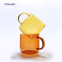 Guaranteed Quality colored handmade borosilicate single wall glass cup with handle