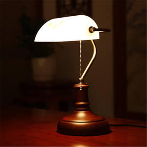 Banker Style Alabaster Glass Oval Lamp Shade Desk Light  Reading Lamp Retro Table Lamps