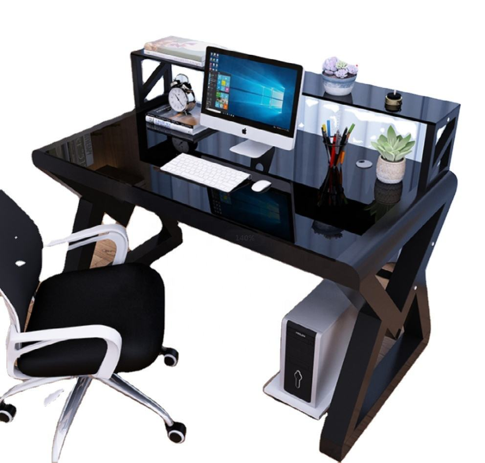 Minimalist style computer desk carefully crafted by tempered glass and metal steel frame computer desk