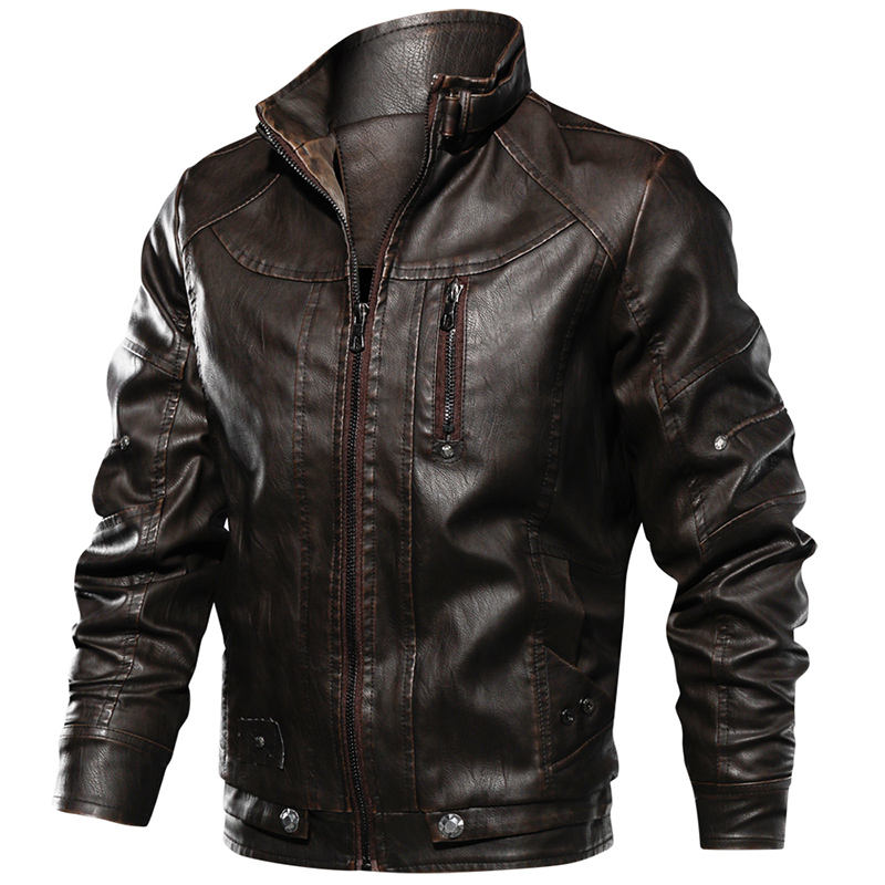 Men's Leather Jacket Vintage Stand Collar Motorcycle Biker Faux Leather Coat