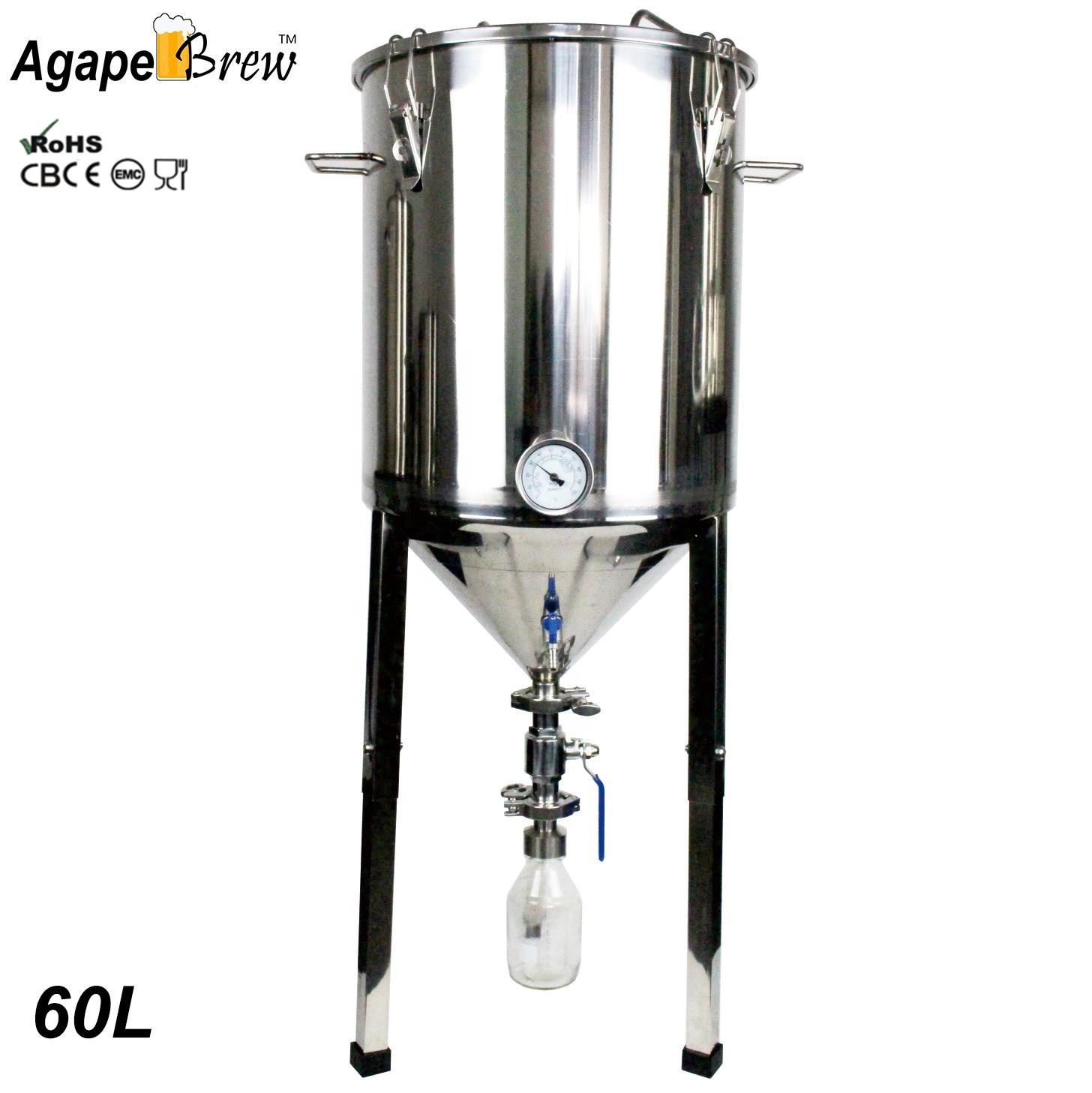 Craft Beer Fermentation 60L High Quality Yeat Colllect Tank Cooling System Advanced Conical Fermenter Fermentation Tank
