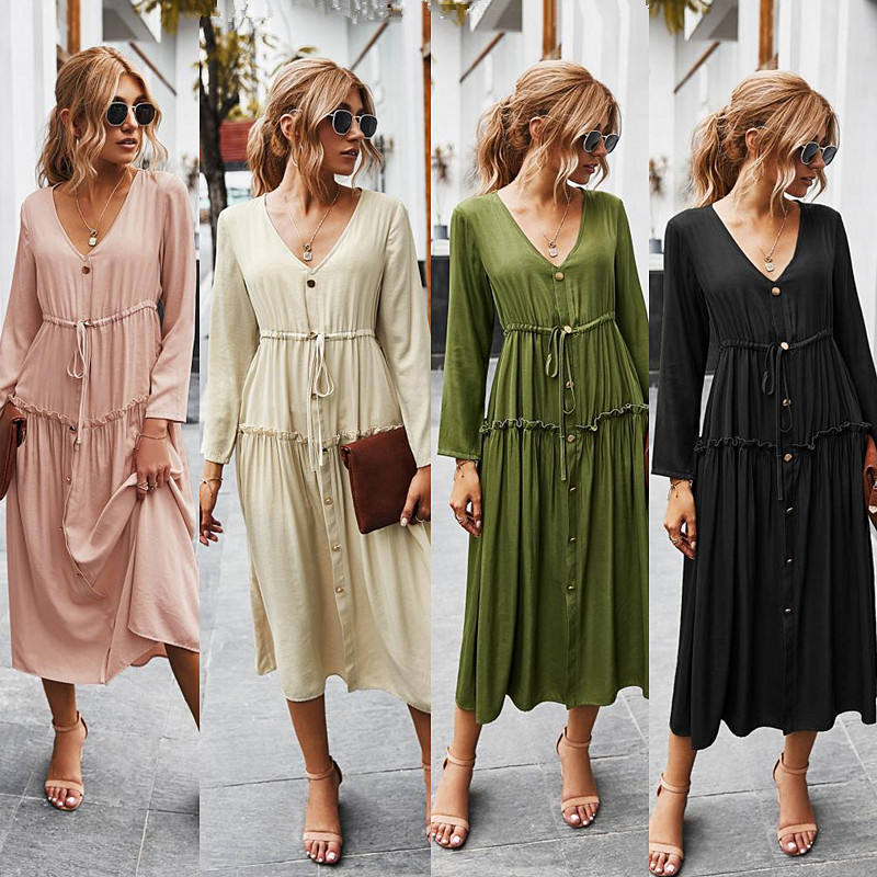 Autumn And Winter New Products Casual V Neck Dress Solid Color Button Long Women Dresses High Waist Sleeve For Ladies