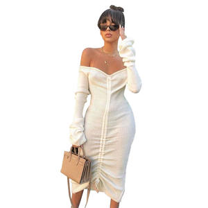 Women Off Shoulder Sexy Bodycon Party Dresses Long Sleeve Drawstring Pencil Elegant Midi Dress Ribbed Knit Vestidos Woman