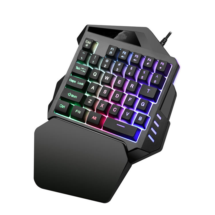 Rainbow light professional 35 keys USB single hand one hand mechanical wired Gaming Keyboard