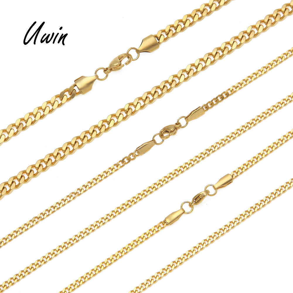 High Quality Stainless Steel Cuban Link Chain 22K Gold Plated Miami Chain Rappers Man Women Necklace
