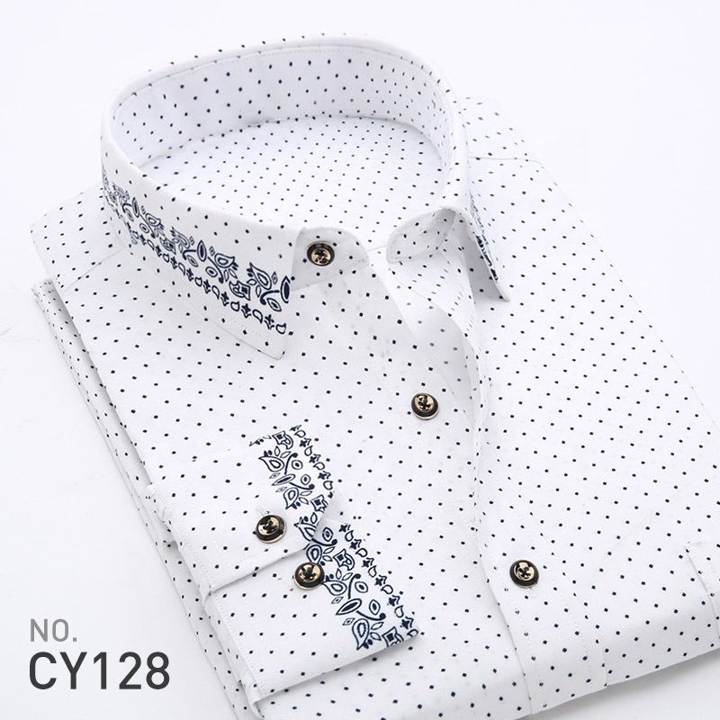 Latest Design Men Business Plaid Shirt Long Sleeve Shirt Brand Formal Cotton Printing Men Dress Shirt
