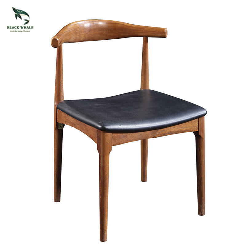 Simple Natural Oak Wooden Classical Dinning Room Carved Solid Wood Dining Chair