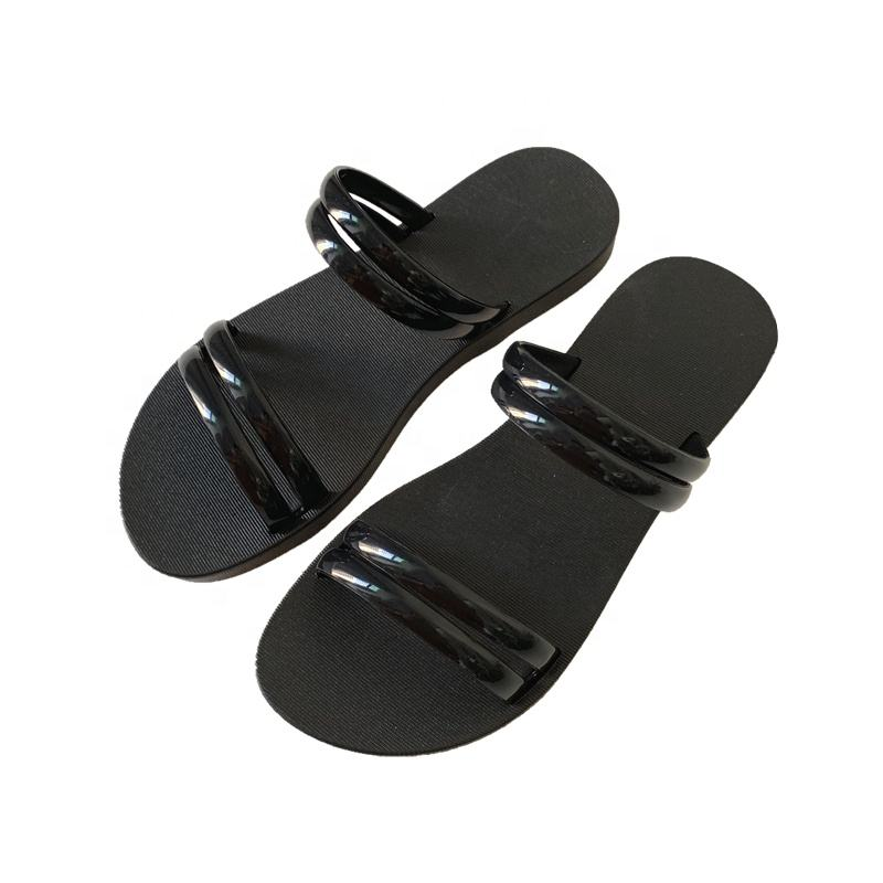 jelly flat slippers for women slippers sandals two kinds to wearing slippers open-toed slide sandals two-bands transparent upper