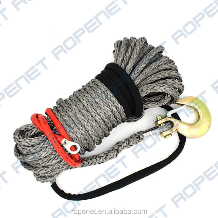 High strength synthetic HMPE winch rope with thimble