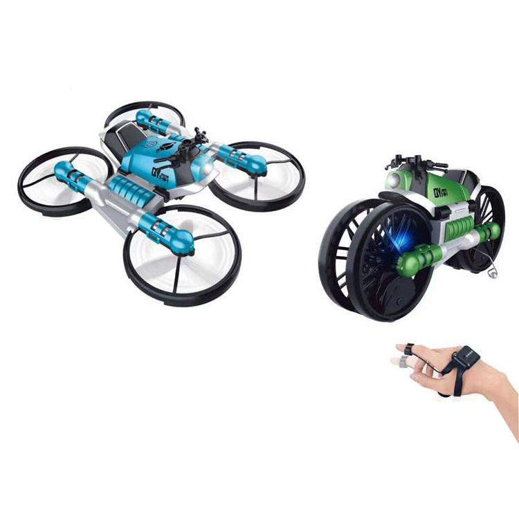 Newest 2 in 1 2.4G RC Mini Drone Professional Navigation LED Drones deformation motorcycle Smart Watch Gravity Control drones