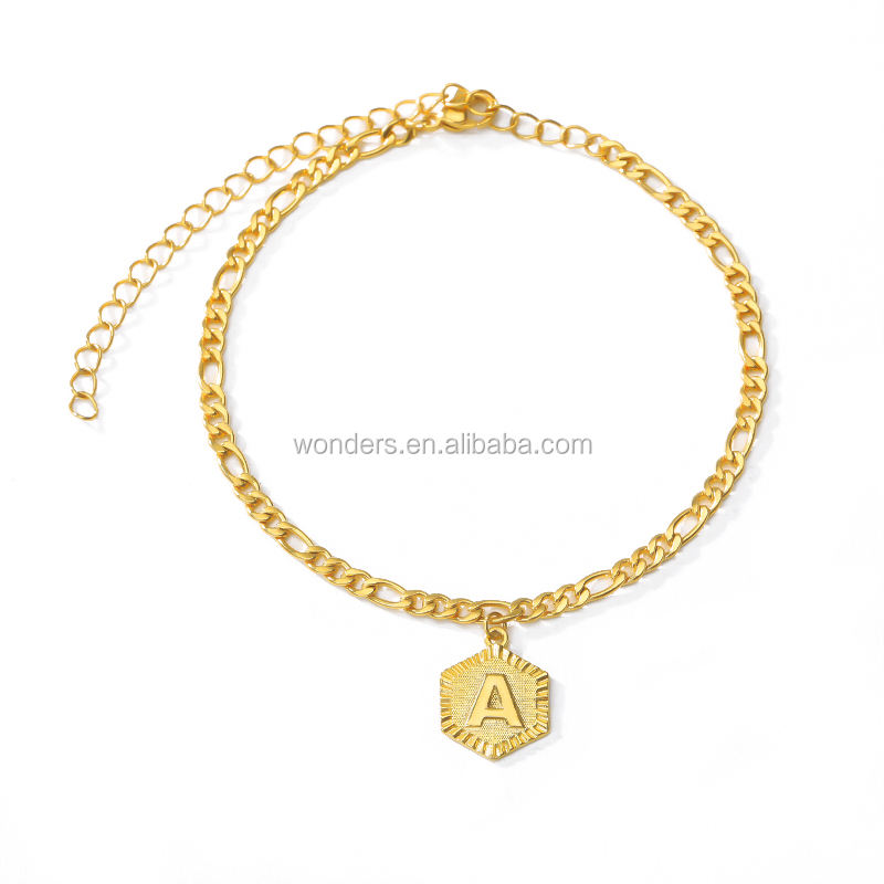 Initial Cuban Link Anklet With Letters Gold Plated Foot Chain Jewelry