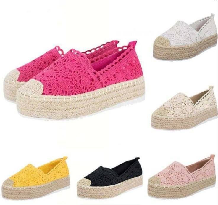 OEM&ODM Straw Women's Casual Shoes Cute thick-soled Student shoes breathable mesh Upper Summer