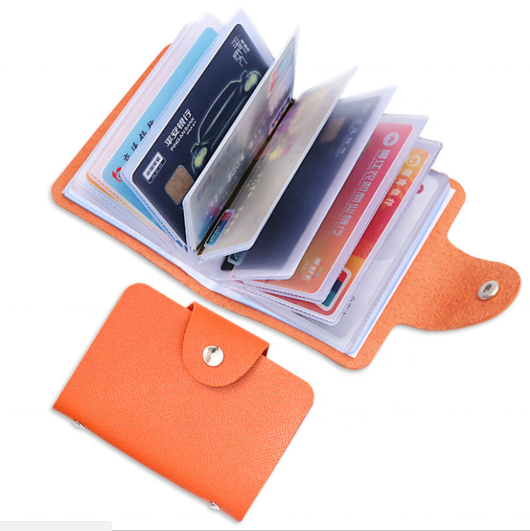 Fashion PU Leather Function 24 Bits Card Case Business Card Holder Men Women Credit Passport Card Bag