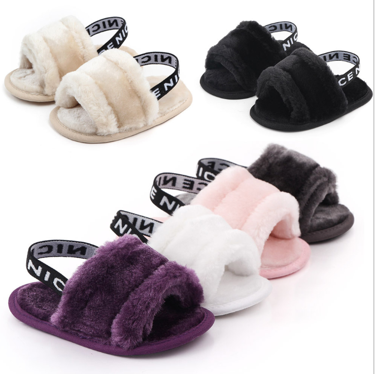 New designed cheap Faux fur soft cotton sole anti-slip prewalker outdoor baby sandals