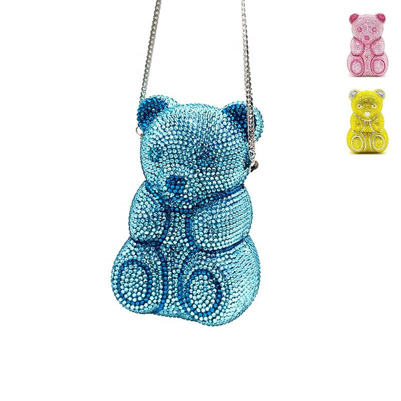 Luxury handmade animal shape cute bear purses women evening party bridal wedding clutches full crystal bag