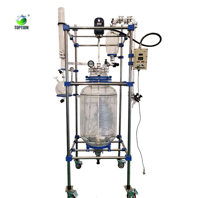 10l single jacketed thermostat glass reactor reaction vessel with chiller & pump