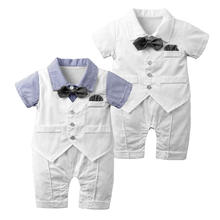 Summer fashion boutique white cloak vests bow tie gentleman outfits toddler baby boy romper