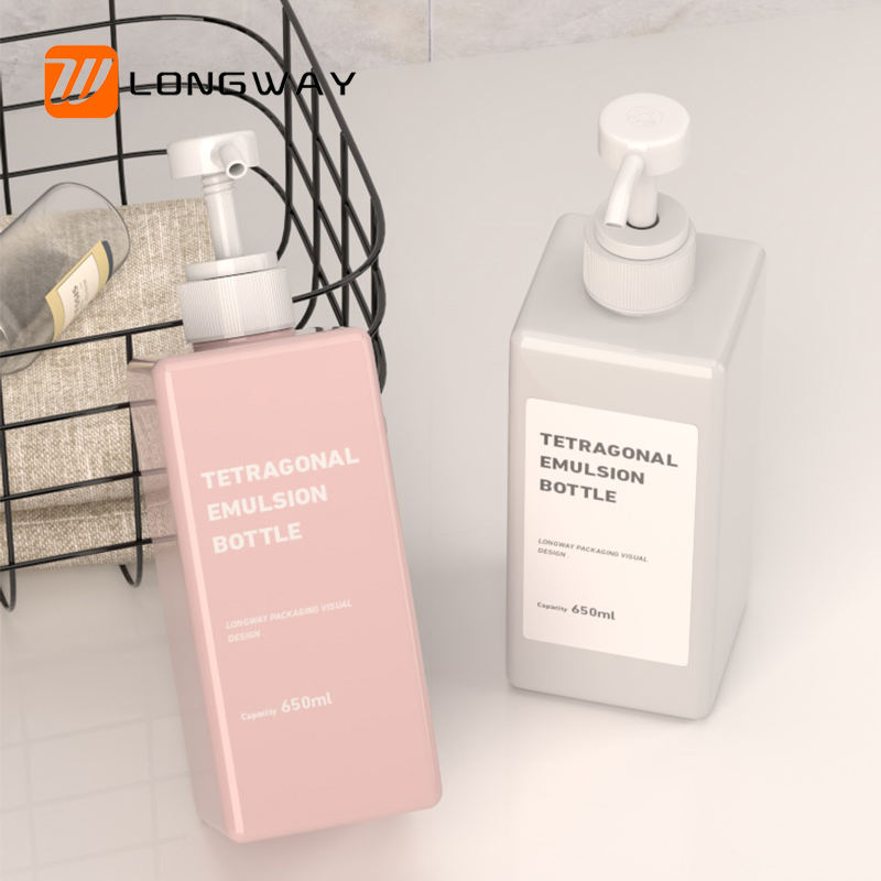 Cosmetic packaging 650ml empty pink shampoo plastic body lotion pump foam soap dispenser square bottle for liquid hand cleanser