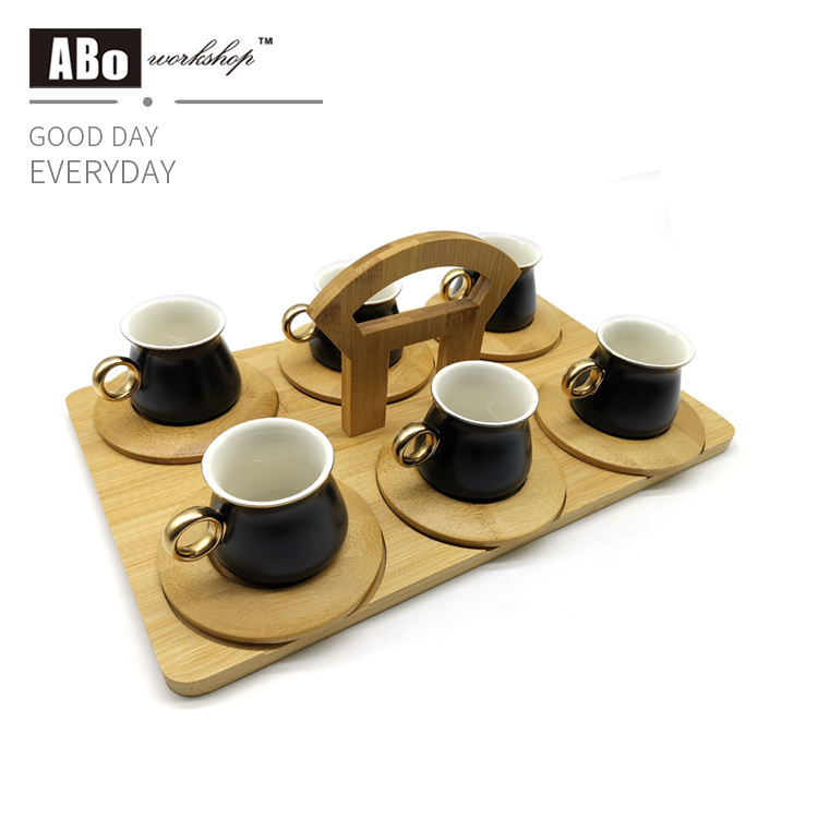 Luxury coffee cup set with bamboo tray Best sale product Beautiful home decor Very popular guest coffee cup