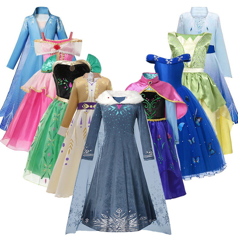 Anna Dress Girls Elsa 2 Cosplay Costume For Kids Aurora Cinderella Princess Dresses Mermaid Tiana Halloween Party Fancy dress