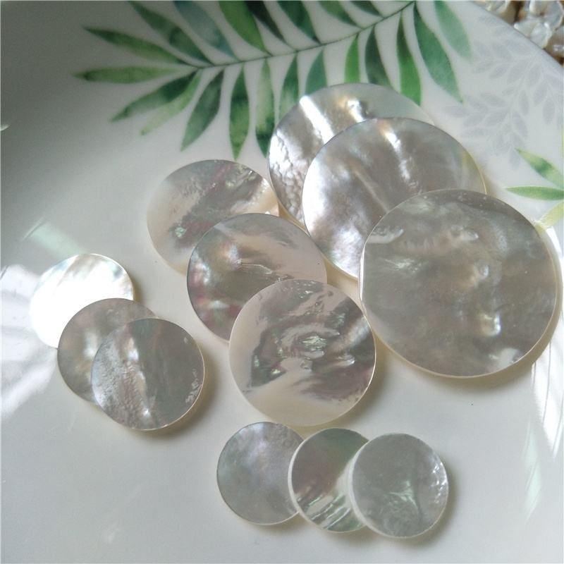 Natural mother of pearl shell polishing round piece jewelry making materials
