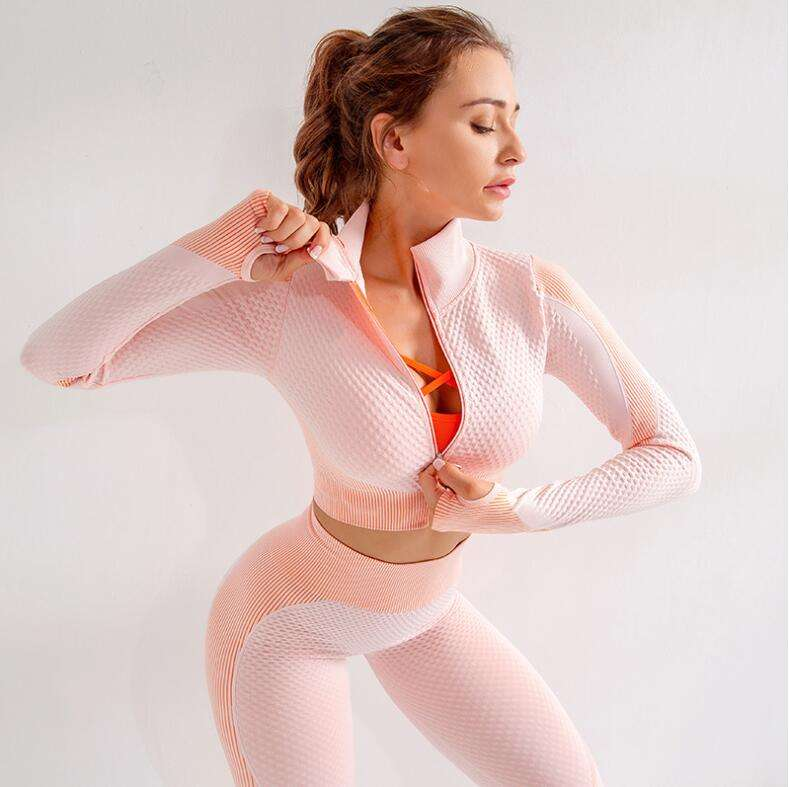 Women Long Sleeve Yoga Set Patchwork Gym Clothing Zippered Workout Fitness Crop Top High Waist Seamless Leggings 2Pcs Sport Suit