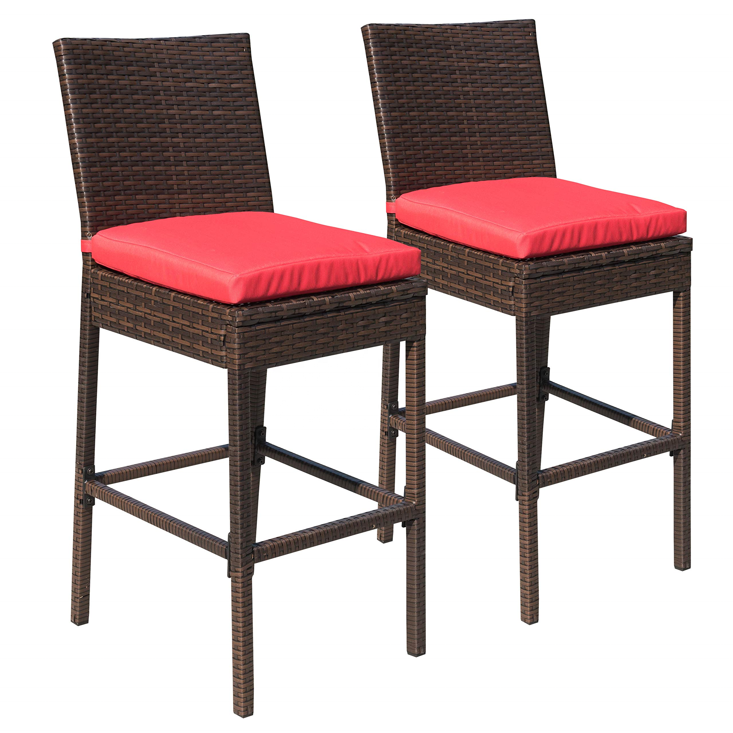 2pcs Outdoor Upgraded All Weather Wicker Bar Stools with Cushions