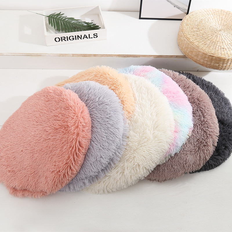 Dreamzoo custom round solid fluffy plush dog bed washable luxury pet dog bed