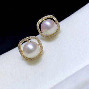 925 Sterling Silver Earrings Women Pearl Ear Stud Zircon Dangle Earrings