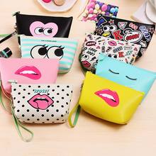 RTS High quality portable cute fancy pu leather cosmetic makeup bag kids zipper coin purse wrist clutch bag