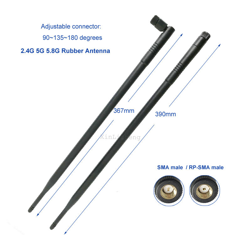 Factor price 2.4Ghz 5.8Ghz Dual band high gain 10dbi wifi router antenna with flexible angle