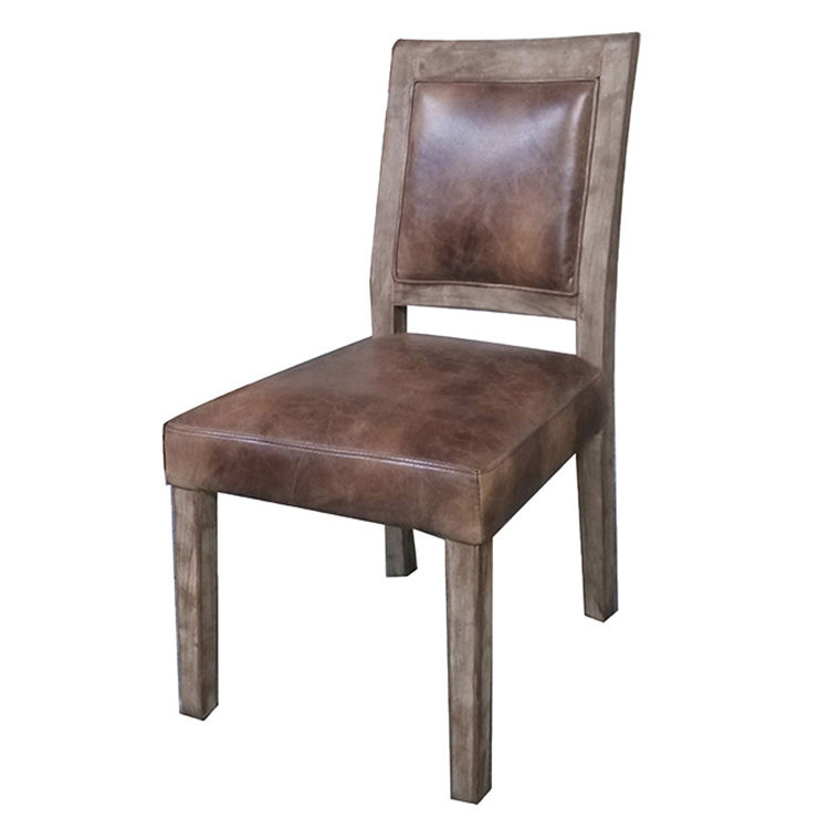 Oak Ash Solid Wood Frame Square Dinning Chair Wooden Distressed Leather Dining Side Chairs