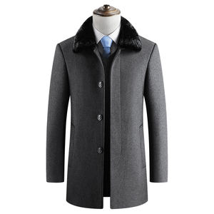 Drop Shipping Wholesale Mens Winter Coat Plus Velvet Warm Jacket Black Gray Business Casual Turn Down Collar Woolen Coat