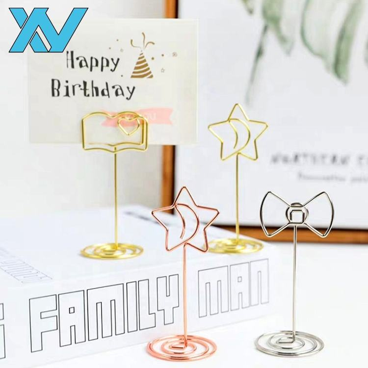 OEM designs colorful metal wire table clip, memo clips, golden, rose golden, silver colors