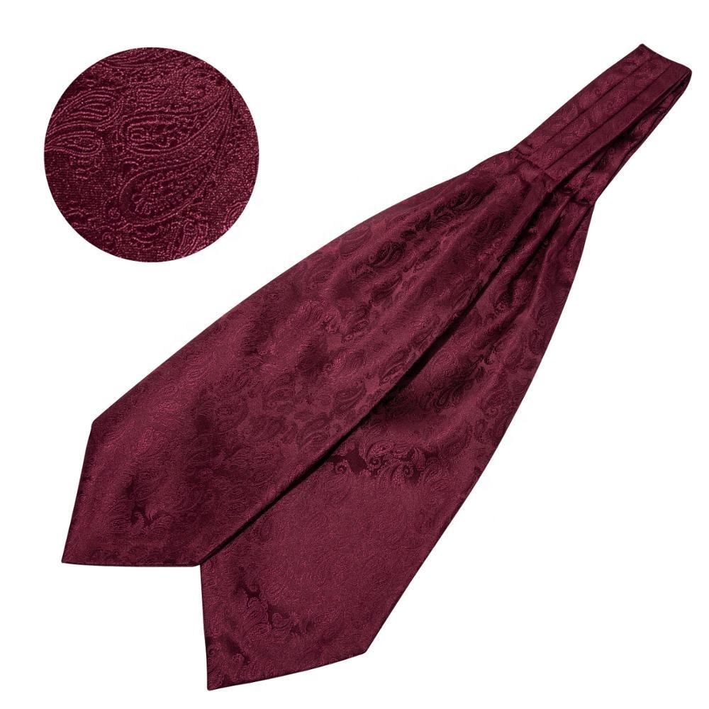 High Quality Jacquard Uniform Red Silk Royal Paisley Tie Cravat Ascot Set for Man Homme