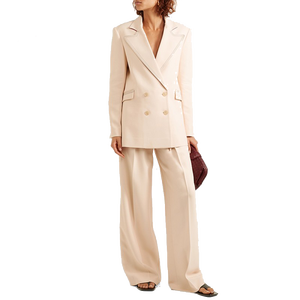 Fashion Vrouwen Double-Breasted Dames Formele Wol-Blend Twill Blazer Office Suits