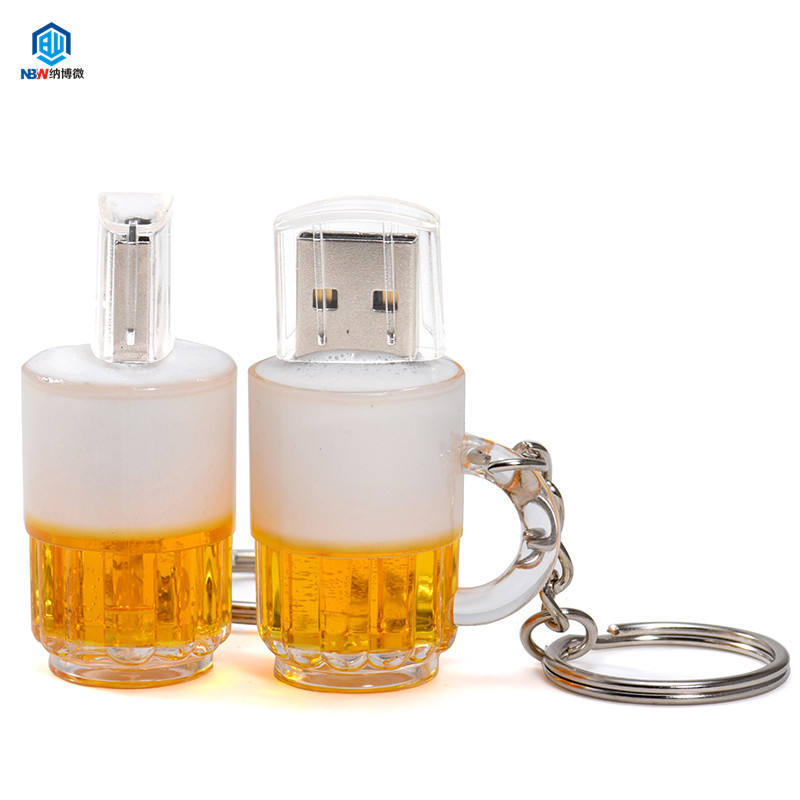 Mini Beer Glass Shape USB Flash Drive Cartoon USB Key Chain 8GB 16GB 32GB 64GB 128GB Pen Drive