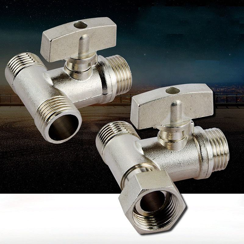 "three-way with live joints brass ball valve 1/4"" thread two-way switch water pipe diverter tap washing machine access"