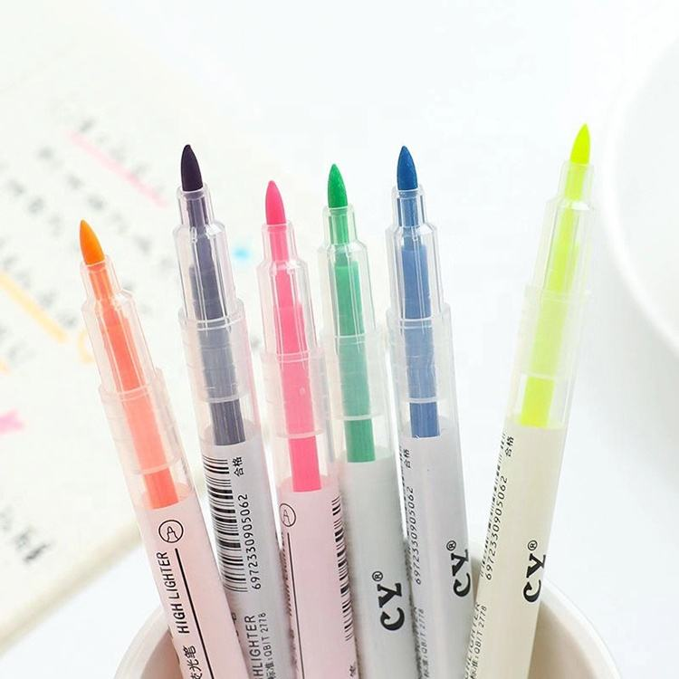 Non-toxic 6 Colors Highlighter Marker Pen Cheap High Quality Plastic High Lighter Oens School Supplies Markers