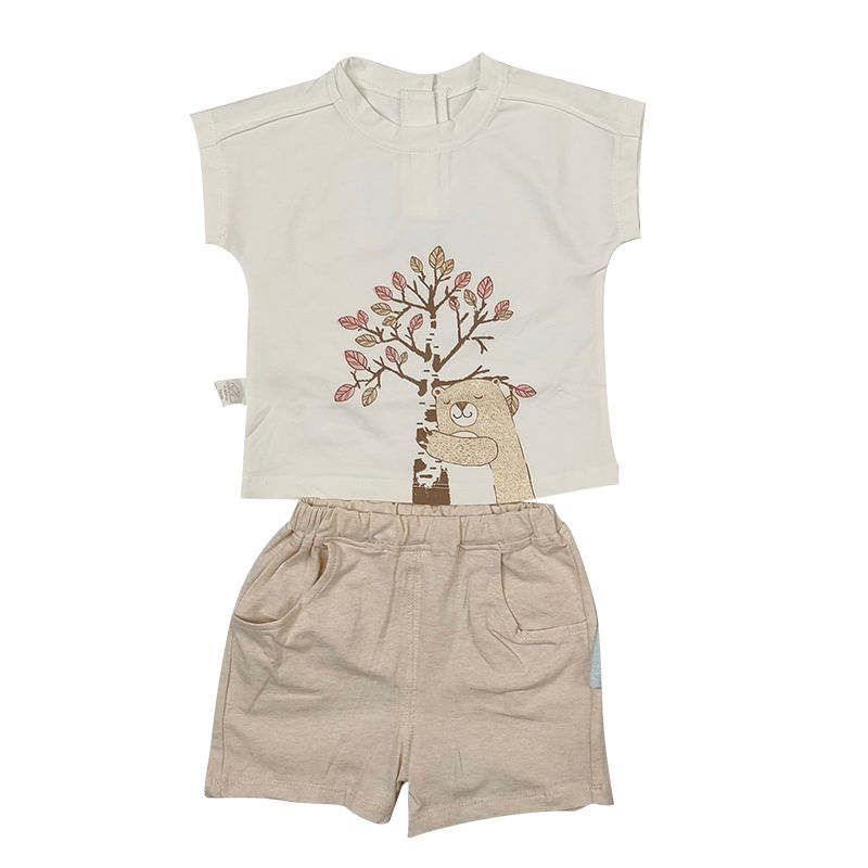 High quality shirt for boys&girls leisure&outdoor wear for baby cute soft shirt and shorts set organic cotton summer baby suit