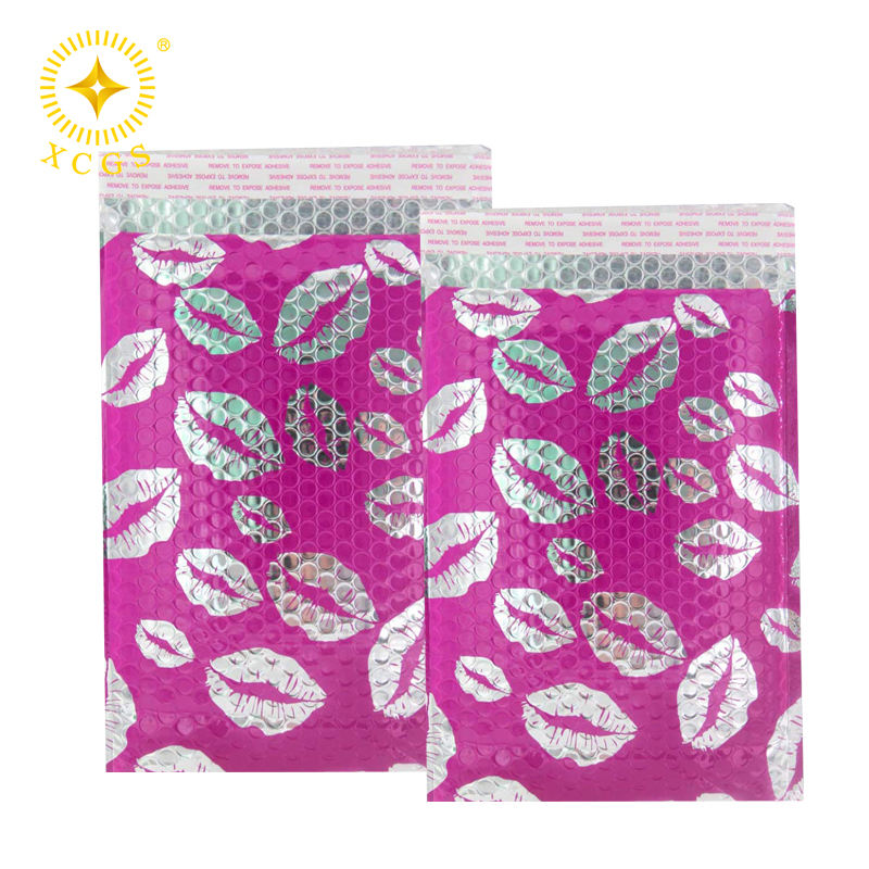 Hot Pink Self-Seal Padded Envelopes Cosmetic Kiss Poly Metallic Bubble Mailer