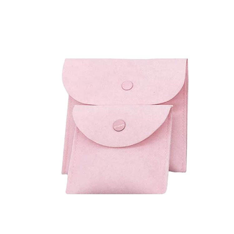 Custom printed suede envelope pink jewelry pouch and packaging gift bag with button