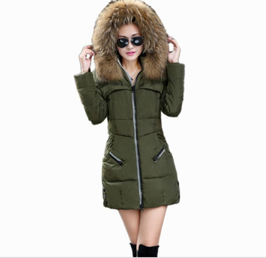 Long Fur Hood Down Jacket Seamless Coat Woman Winter Ladies Chaqueta Militar Mujer