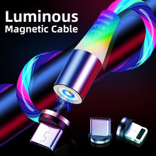 Luminous magnetic cable flowing light magnetic cable 3 in 1 Magnetic phone Charging Cable For Android Type C IOS