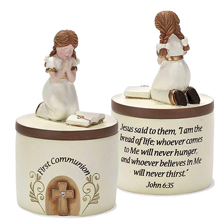First Communion Praying Boy Resin 5 inch Keepsake Box Resin Baby Baptism Souvenirs